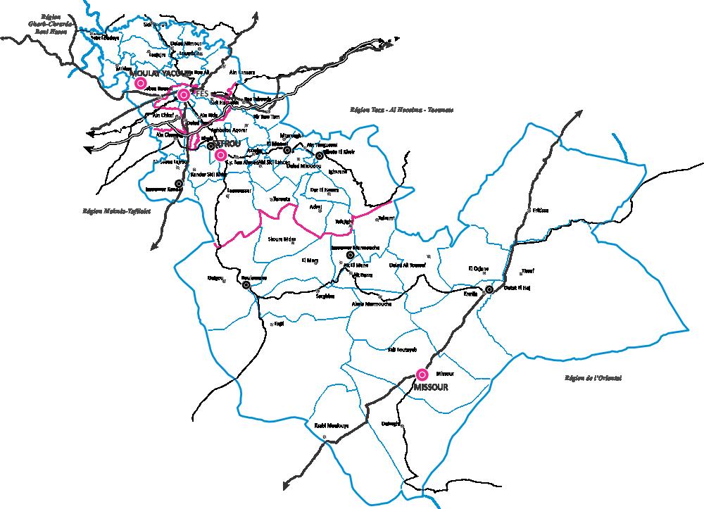 Le découpage administratif de la région de Fès Boulemane