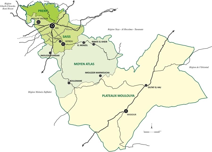 Unités Territoriales Agricoles ( UTA) de la région de Fès Boulemane