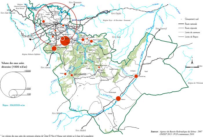 Volume des eaux usées par ville dans la région de fès boulemane