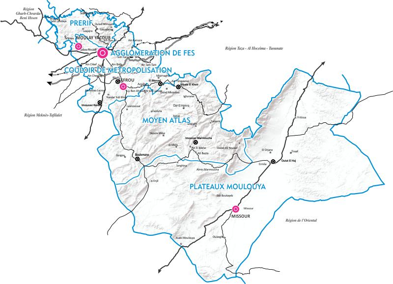 Sous régions homogènes de la région de Fès Boulemane
