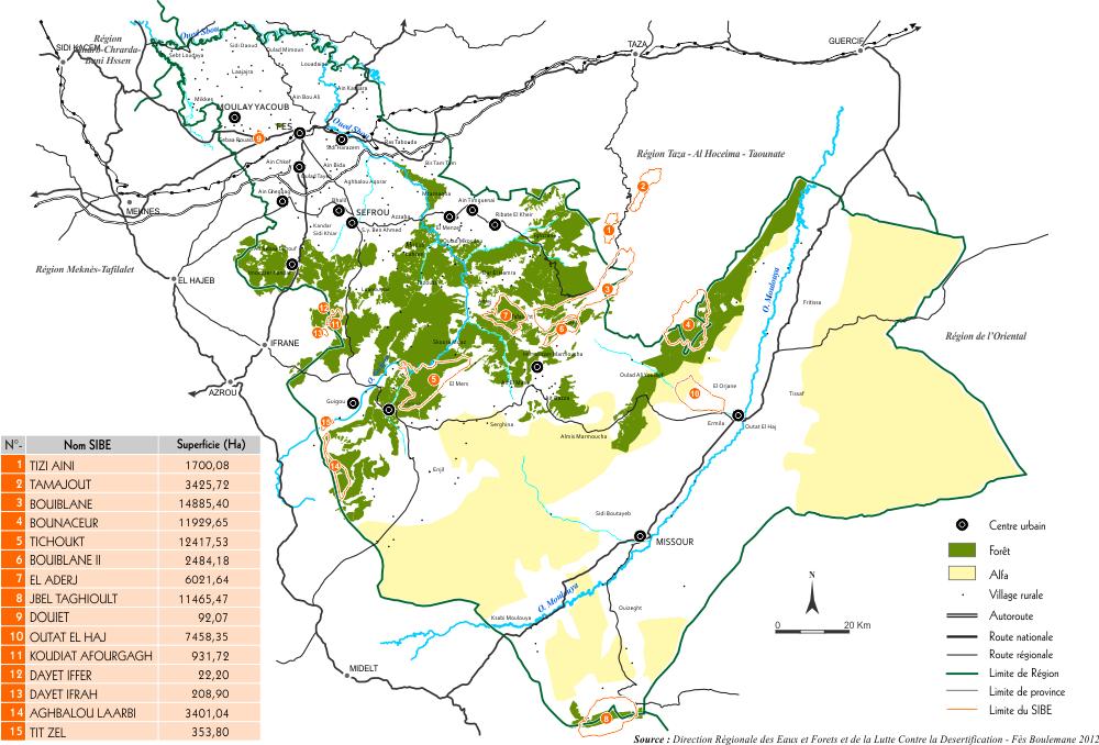 Sites d'interêt biologique et écologique de la région de Fès Boulemane